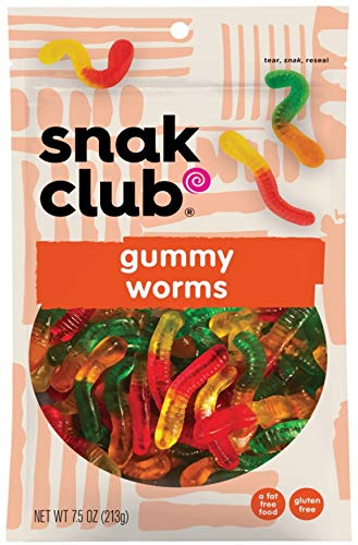 Snak Club Gummy Worms, 7.5oz Bags (Pack of 6)