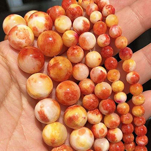 YuKeShop 6 8 10 12 mm piedra natural naranja blanco jades espaciador suelto cuentas para hacer joyas cuentas redondas DIY pulsera accesorios 15 pulgadas (color: 10 mm aproximadamente 36 piezas))