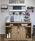 Farmhouse Coffee Bar Cabinet - Sliding Barn Door Kitchen Sideboard Buffet Storage Cabinet
