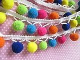 YYCRAFT Top Quality Multicolor'G' Pom Pom Ball Fringe Trim Ribbon Sewing(5 Yards)