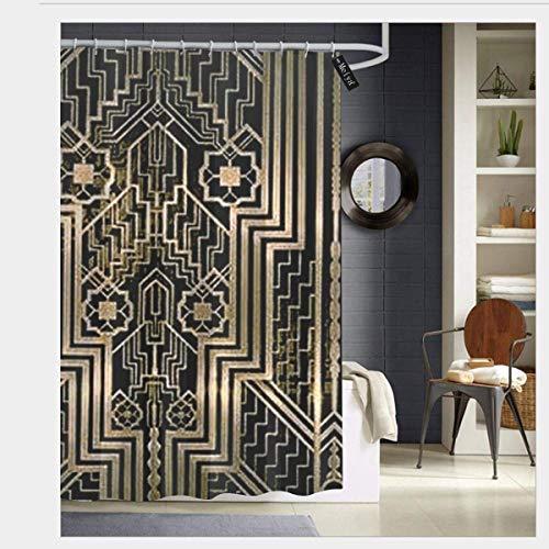 EdCott Jugendstil-Metallic-Design Duschvorhang 3D-Druck Wasserdicht beschichtetes Bad aus Polyestergewebe mit 12 Haken 71 Zoll
