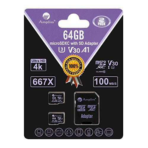 Amplim 2-Pack 64GB Micro SD Card Plus Adapter. 2X 64 GB MicroSD SDXC Card 100MB/s V30 A1 U3 C10 UHS-I 4K Video MicroSDXC Memory Card for Cell Phone Nintendo GoPro Camera Galaxy LG Moto DJI Drone Fire