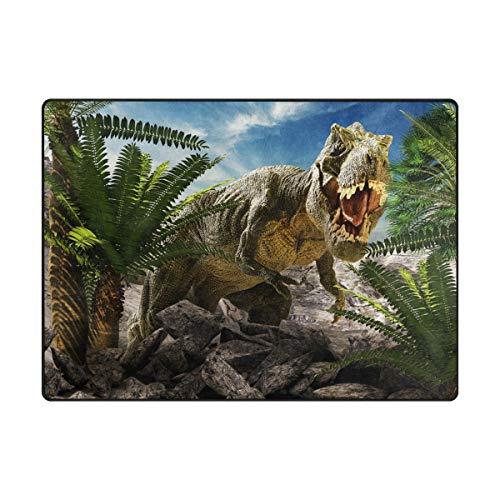 Mnsruu Alfombra grande de 203 x 147 cm, diseño de dinosaurios 3D, ligera, antideslizante, para sala de estar, dormitorio, hogar, cubierta