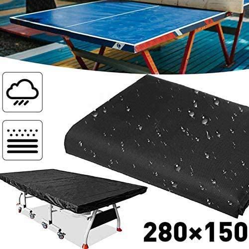LOISK Portable Schutzhülle für Tischtennisplatte Outdoor Tischtennisplatte Abdeckung Schutzhülle Wetterfest Staubdicht UV-Schutz Oxford-Gewebe 280 x 150x10cm schwarz