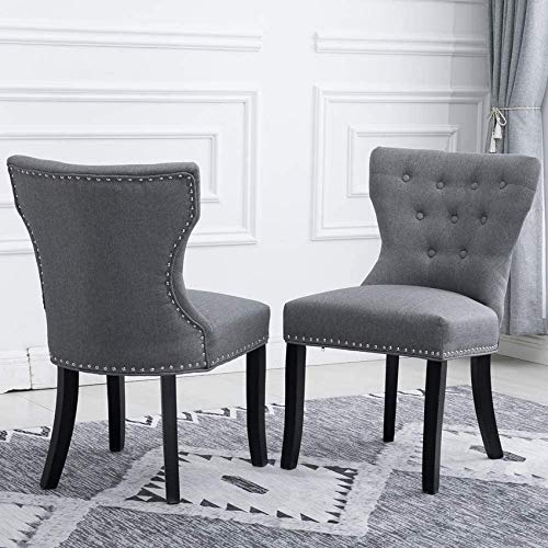 Furniture 2 Grey Fabric Dining Chairs for Kitchen with Soft Padded Upholstered Seat Chairs for Living Room Office Reception Waiting Room