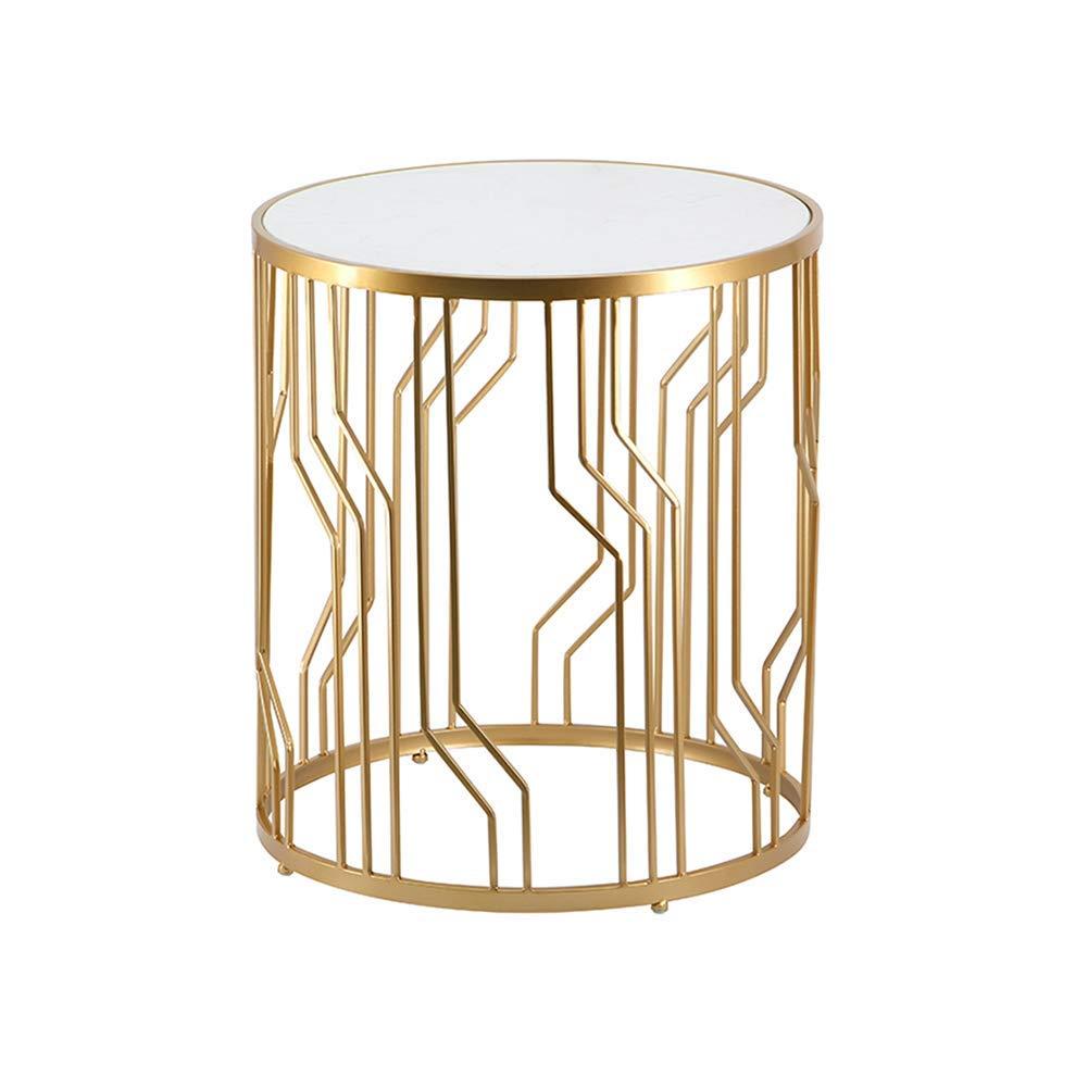 コーヒーテーブル 北欧ソファサイドラウンドベッドルーム/リビングルーム/パティオ大理石カウンター横Accentきのための簡単な簡単な表、ゴールド、ゴールド (Color : Gold)