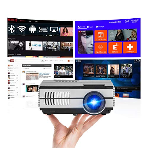 Portable Mini Movie Projector with Bluetooth Wi-Fi, 2020 Upgrad Android 7.1 LCD LED Home Cinema Projectors Wireless Sync with Smartphone 2800 Lumen HDMI USB Aux Audio for Gaming Artwork Entertainment