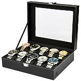 H&S Glass Lid 10 Watch Jewellery Display Storage Box Case Bracelet Tray Faux Leather Black for Men Women