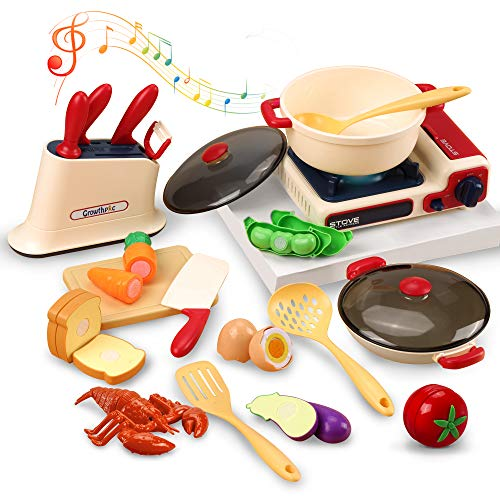 GrowthPic Pretend Play Kitchen Accessories, Toy Hot Pot Stove with Music and Light, Pots and Cooking Utensils, Play Food and Cutting Playset for Toddlers Kids Boys Girls