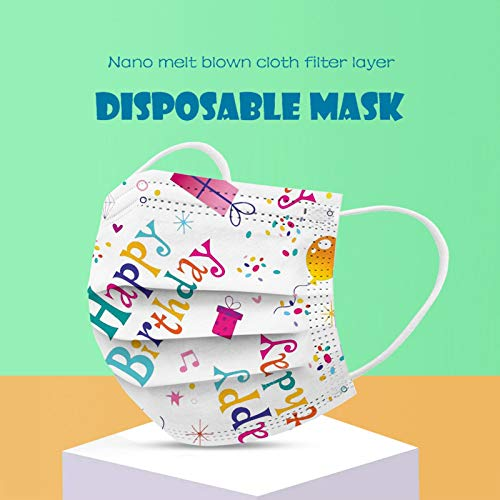 CawBing Disposablē_Face_Masks Birthday Gifts for Her Him 10PCS Happy Birthday Printed Decorations Balaclava 3-ply Comfort Breathable Face_Coverings with Elastic Earloop Protection Bandana