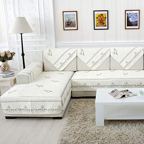 Zzy Anti-Slip Embroidery Sofa Slip Cover,Cotton Quilted Furniture Protectors Covers for All Season sectional Sofa Throw Cover pad for l u Shaped Sofa-1 Piece-B 110x180cm(43x71inch)