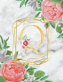 Q :  Cute Initial Monogram Letter: College Ruled Notebook ( Size 8.5 X 11 ) Perfect For Women And Girl Design letters with flowers and background with Flowers and Greenery on white marble texture suitable for Writing Journal & Note Taking