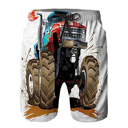 goodsaleA Pantalones Cortos De Playa para Hombres,Motor de maquinaria de Llama de diseño gráfico de Barro,Pantalones De Chándal De Secado Rápido, Bañador De Verano para Ejercicios Al Aire Libre XL