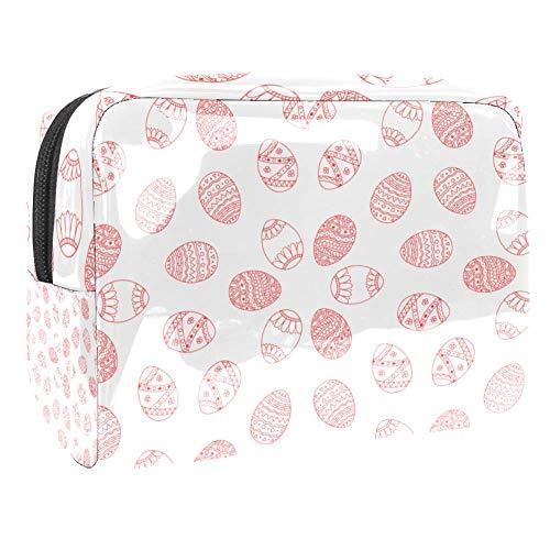 PVC-Make-up-Tasche, tragbar, Kosmetiktasche, Kulturbeutel, wasserdicht, 18,5 x 7,6 x 13 cm, rotes Osterei