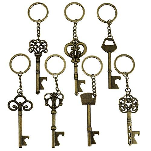 Ouvreur de bouteille principal - squelette clé ouvrant des bouteilles de bière soude porte-clés porte-clés pour la partie de porte à porte ou la noce, festival (7 pièces, bronze) Item Name (aka Title)