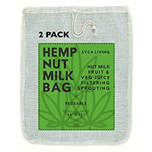 "2-PACK Hemp Nut Milk Bag, (Large Size 14""x12"") Nut Milk Bag, Almond Milk Nut Bag, Cheesecloth, Strainer bag for Celery… 