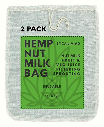 "2-PACK Hemp Nut Milk Bag, (Large Size 14""x12"") Nut Milk Bag, Almond Milk Nut Bag, Cheesecloth, Strainer bag for Celery Juice, Cold Brew Coffee,Yogurt, Hemp Sprouting Bag."