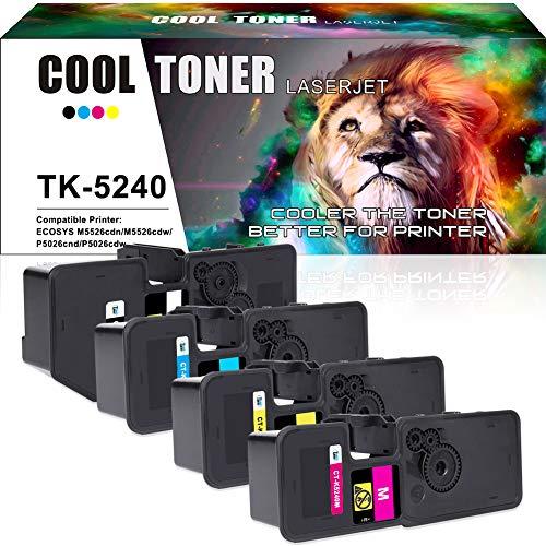 Cool Toner Compatibel Toner Cartridge Vervanging voor TK5240 TK-5240 TK-5240K TK-5240M TK-5240C TK-5240Y voor Kyocera ecosys M5526cdn M5526cdw P5026cdn P5026cdw Printer (Zwart/Geel/Cyaan/Magenta)