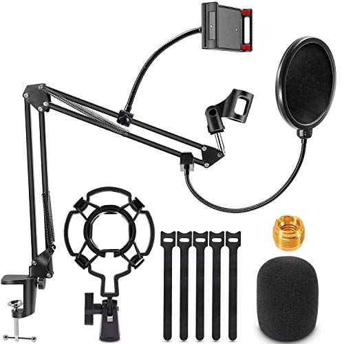 Microphone Stand, Magicfun Mic arm Desk Adjustable Suspension Boom Scissor for Blue Yeti Snowball & Other Mics for Professional Streaming, Voice-Over, Recording, Games