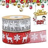 Cinta de Organza Navidad, 2 Rollos Cintas de Raso Navideña Gris Rojo Cintas de Navidad 25 mm con Copo de Nieve Alce, 20 M/22 yardas Cinta Organza para Envolver Regalos/Lazo/Tarjetas/árbol de Navidad