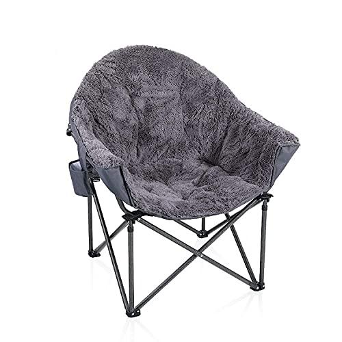 ALPHA CAMP Moonchair Gepolsterter Campingstuhl mit Plüsch faltbar Campingsessel mit Seitenhalt Klappstuhl Gartenstuhl mit großer Sitzfläche, Grau