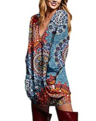 ❤ Features : Sexy V Neck Pullover Batwing Blouse Shirt,Long Sleeve,Tunic Jumper Sweatshirt,Solid Cloor / Floral Printed,Plus Size,Loose, Baggy, Oversized Tunic Tops,Hide Your Belly, Make You Look Slim.Ideal To Pair With Boots, Jeans, Leggings Or Trou...