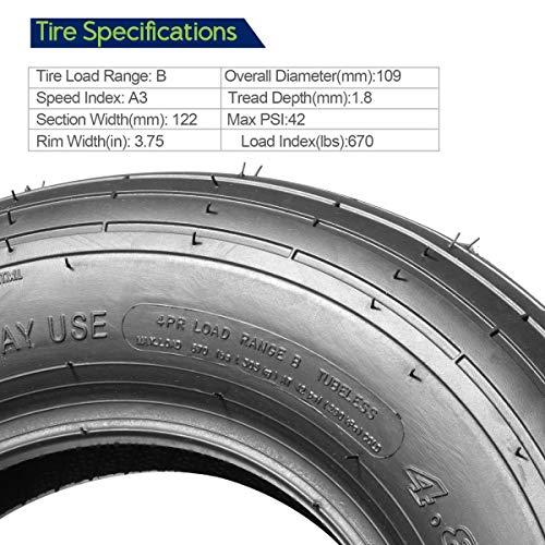 MaxAuto 4.80/4.00-8 Wheelbarrow Tire Universal Fit Mowers, Hand Trucks, Carts and More, Set of 2