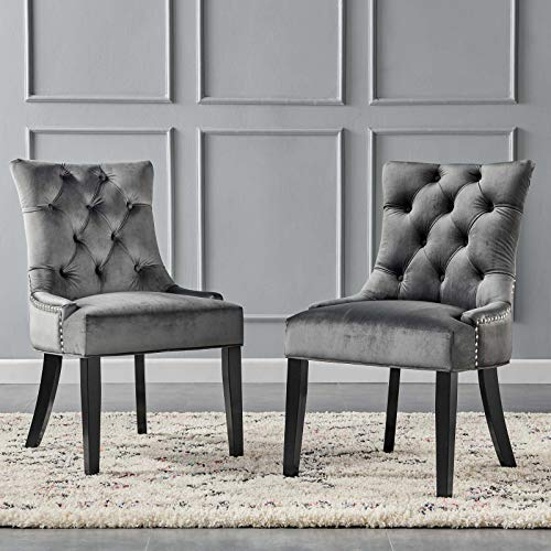 Modway Regent Tufted Performance Velvet Dining Side Chairs  Set of 2 Charcoal