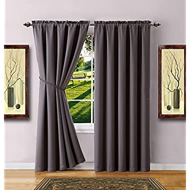 Warm Home Designs 1 Pair of 2 Short Size 54  x 63  Charcoal Room Darkening Curtains & 2 Free Matching Tie-Backs. Total Width 108 . Save by Buying Blackout Pairs Instead of Single Panels. E Charcoal 63