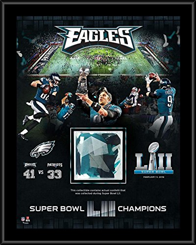 """Philadelphia Eagles Super Bowl LII Champions 12"""" x 15"""" Sublimated Plaque with Game-Used Confetti - NFL Team Plaques and Collages"""