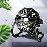 Lureshine Ventilador de suelo con función de iluminación, alto flujo de aire sin niveles, ajustable, ventilador de pie inclinable de 15 W, portátil, funciona con pilas, para garaje, camping, exterior