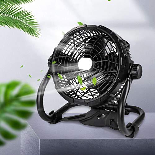 Lureshine Bodenventilator mit Beleuchtungsfunktion Hoher Luftdurchsatz Stufenlos Verstellbare Stufenlos Neigbarer Standventilator 15W Tragbar Batteriebetrieben Windmaschine für Garage Camping Outdoor