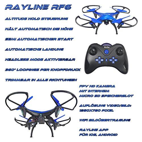 FPS RTF Bundle RC Quadrcopter RF6 Funtom 6 mit 2x 500mAh Akku und 2x 680mAh Tuning Akku + 720P HD FPV Wifi Kamera