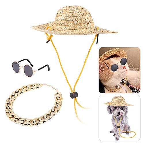 Ymiko Traje para Mascotas Perro Sombrero Sombrero Gafas de Sol para Mascotas Collar de Cadena para Mascotas Paquete de Accesorios para Mascotas para Gatos y Perros pequeños, 3 Piezas(3 Piezas)
