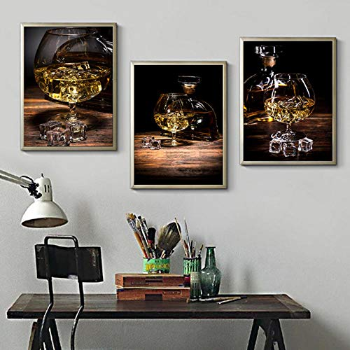 Terilizi Whisky IJs wijn kunstdruk poster muur chic afbeeldingen unieke canvas schilderij woonkamer keuken kamer huis decoratie achtergrond 50X70Cmx3 geen lijst