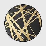 LAMEDER Dormitorio Sala de Estar Alfombra,Microfibra para el hogar Línea Cruzada de Oro Cesta Negra Alfombra Redonda Alfombrilla Antideslizante, 80 × 80 cm