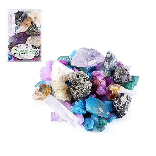 Jovivi Mezcla de piedras en bruto pequeñas y sin forma, colección de piedras preciosas con caja, piedras minerales, para niños y adultos, para aprender a jugar