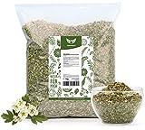 NaturaForte Foglie di biancospino con fiori, taglio 1kg - Lotti di tè al biancospino, Qualità medicinale, 100% naturale e senza additivi, Sacchetto aromatizzante, Secco, Testato in laboratorio
