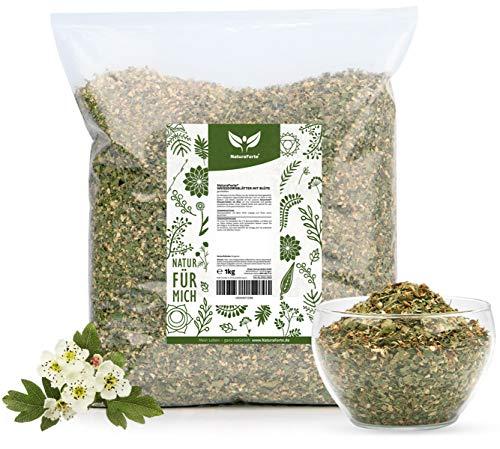 NaturaForte Hojas de espino con flores, corte 1kg - Lotes de té de espino, Calidad medicinal, 100% natural y sin aditivos, Bolsa de sabor, Seco, Probado en laboratorio