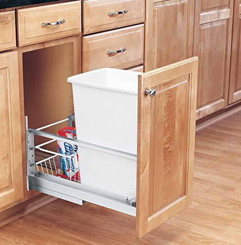 Rev-A-Shelf - 5349-15DM-1 - Single 35 Qt. Pull-Out Brushed Aluminum and White Waste Container