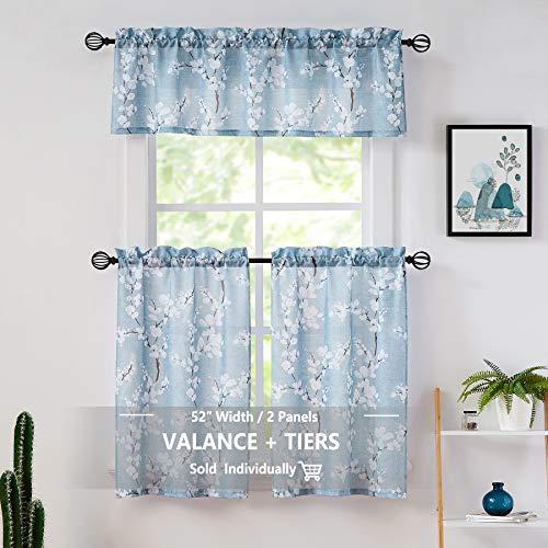 Fmfunctex Blue-White Kitchen Curtains for Bathroom Floral Small Canvas Tier Curtains for Bathroom Basement Windows 24