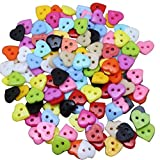 JINSUO SFFSM 100pcs 10mm de plástico en Forma de corazón mezclaron los Botones de Color Bricolaje Ropa Fuentes de Costura Artesanías for Coser de Punto Scrapbooke Cardmake (Color : Multi Colored)