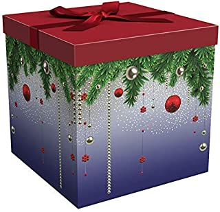 EndlessArtUS Box 12x12x12 Silent Night Holiday Collection - Easy To Assemble and Reusable . no Glue Required - Ribbon, Tissue Paper, and - Tag Included - EZ . Box