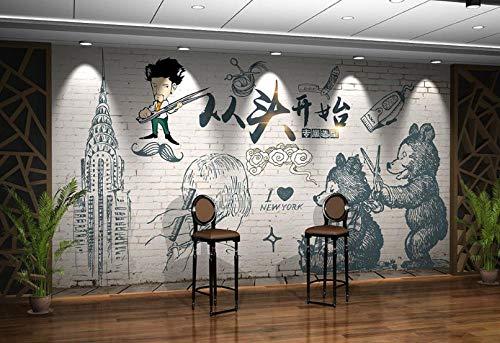 Papel Pintado no tejido Decoración de Pared Pared de ladrillo retro desde cero, tendencia barbería, peluquería, fondo, pintura mural@350 * 245 cm