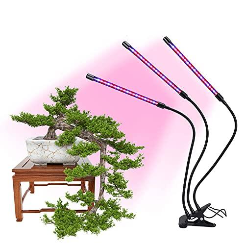 Hao-zhuokun Lámpara de Crecimiento,60 LED Lampara de Cultivo Grow Light Indoor Lámpara de Planta Espectro Completo 30W Interruptor Temporizador Auto 3/6/12H Regulable 360° 9 Brillo 3 Modos