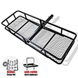 FieryRed Folding Cargo Carrier Luggage Basket - 500 lbs. Capacity Basket Trailer Hitch Cargo Carrier with Cargo Carrier Net & Hitch Stabilizer, Fits 2-Inch Receiver