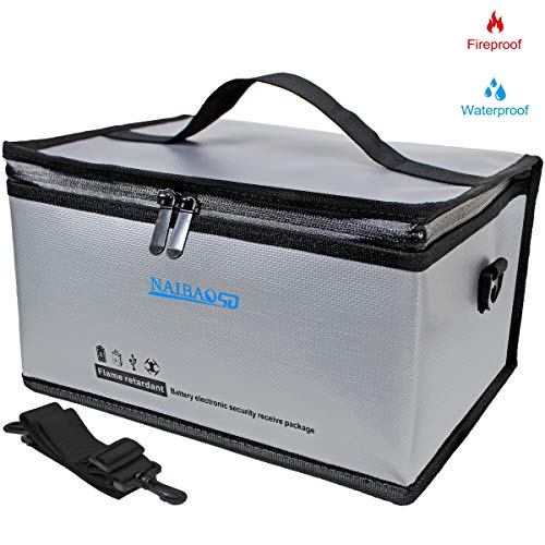 Fireproof Explosionproof Lipo Safe Bag for Lipo Battery Storage and Charging, Large Space Fire and Water Resistant Lipo Battery Guard with Double Metal Zipper (11 x 8 x 6 in)