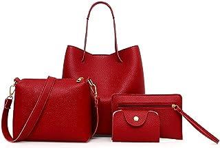 622634f67aa5 ADOSOUL Women Shoulder Messenger Bag Purse Set 4 Pcs Leather Zipper Handbag  Solid Shoulder Messenger Bag