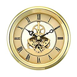 ShoppeWatch Clock Insert Skeleton Design Quartz Movement Round 103mm Miniature Clock Fit Up Gold Tone Bezel Roman Numerals CK093GD