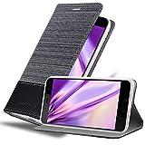 Cadorabo Hülle für HTC U Play in GRAU SCHWARZ - Handyhülle mit Magnetverschluss, Standfunktion & Kartenfach - Hülle Cover Schutzhülle Etui Tasche Book Klapp Style